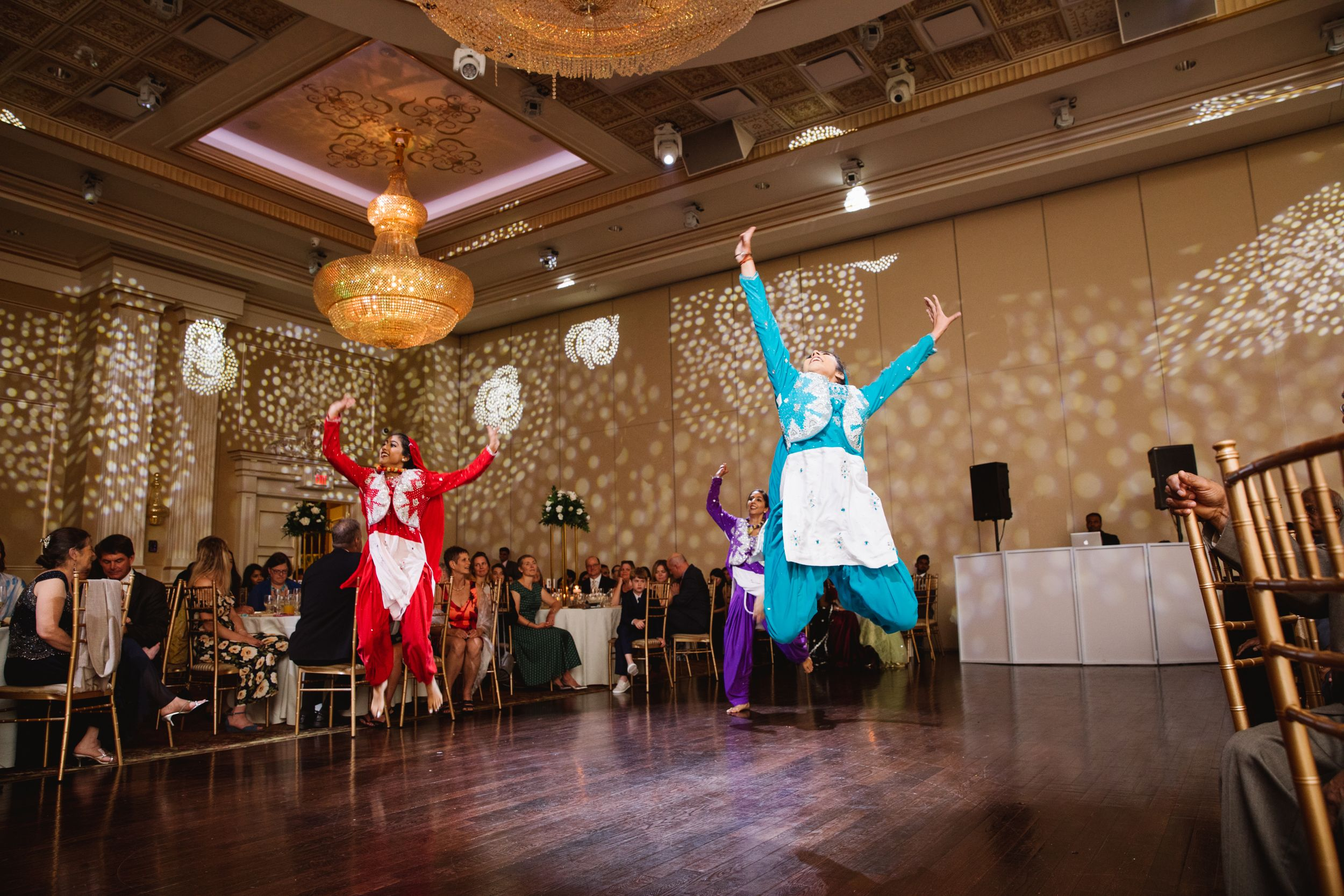 bhangra dancers jump at reception