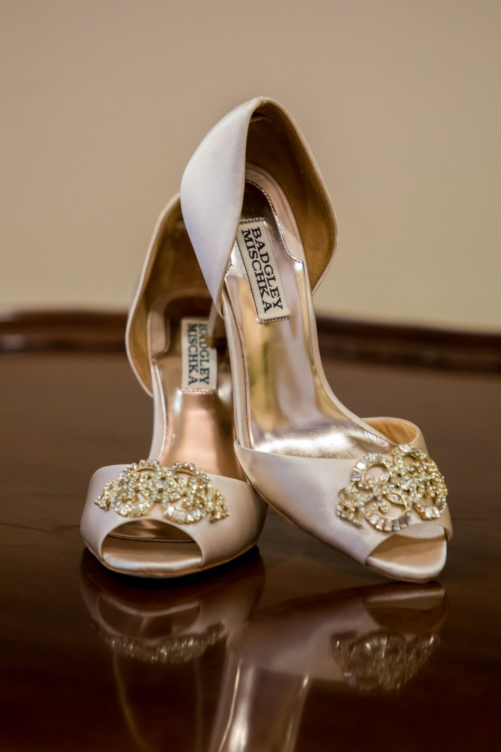 Bride Ashley's shoes before her wedding at St. Philips Church in Charleston, SC