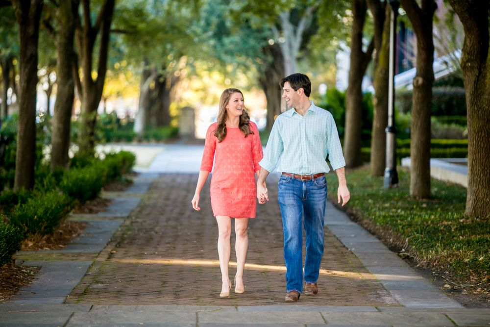 Ashley and Ben's engagement portrait at Waterfront Park in Charleston, SC