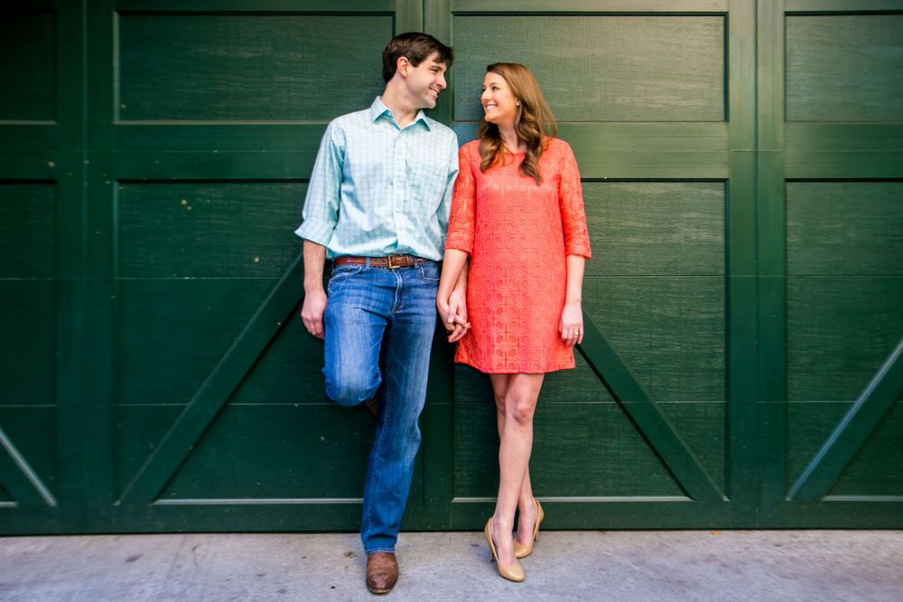 Ashley and Ben's engagement portrait in an alley near Waterfront Park in Charleston, SC