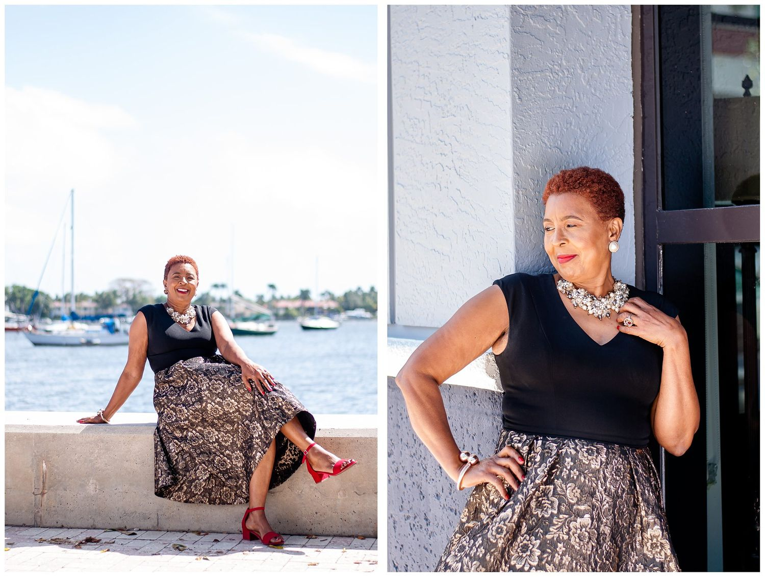 Downtown West Palm Beach portrait session woman with pearl necklace