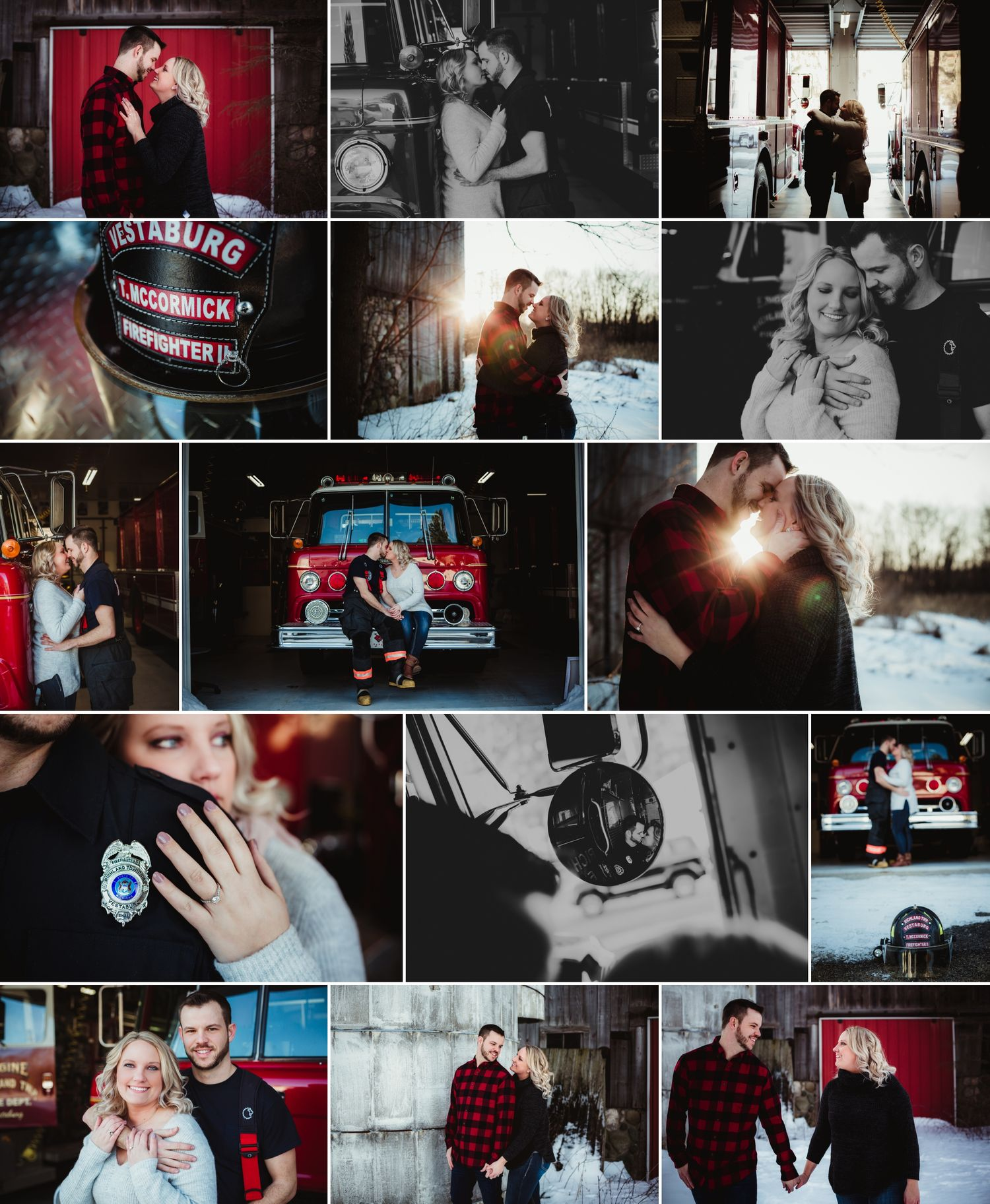 Collage of an engaged couple posing for photos. He is a firefighter and many are taken at the station.