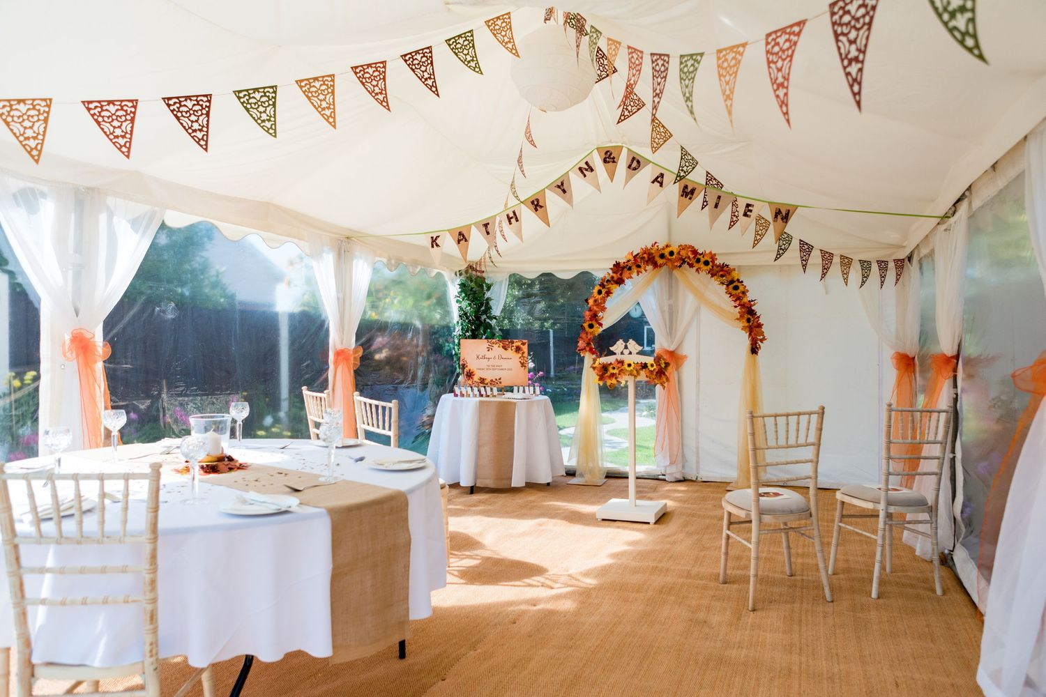 small marquee wedding ceremony decor