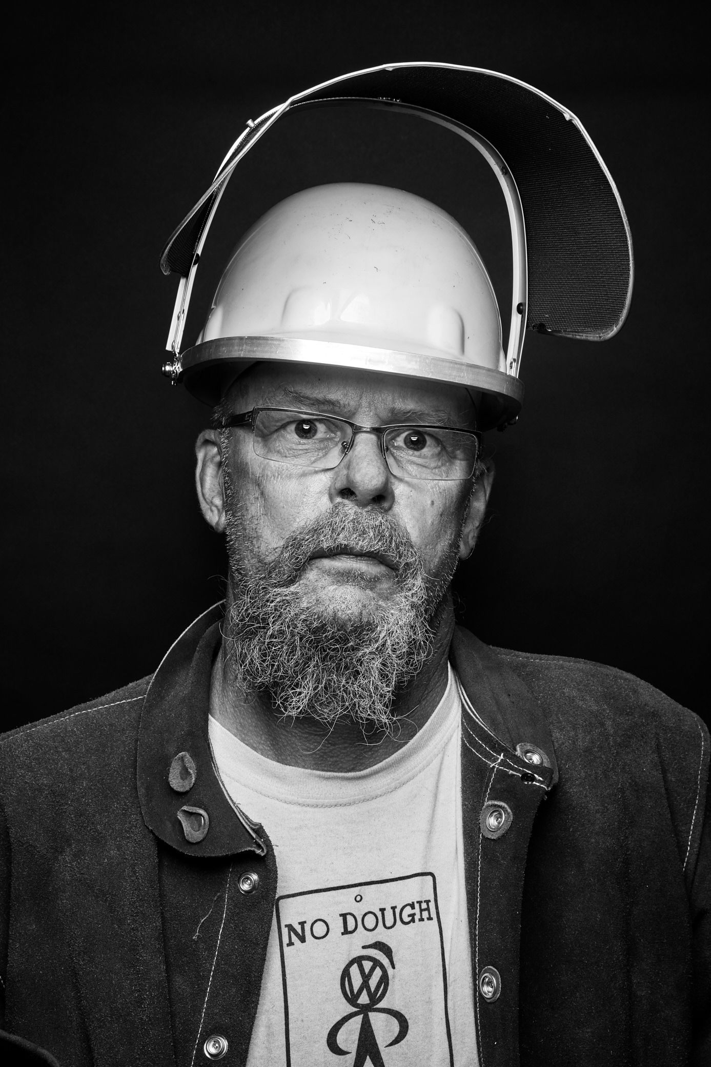 Iron Pour Artist portrait in black and white