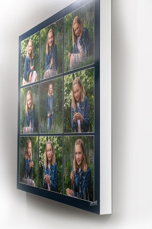 wall portrait display of teenage girl in flower field Coeur d' Alene photographer luba wold