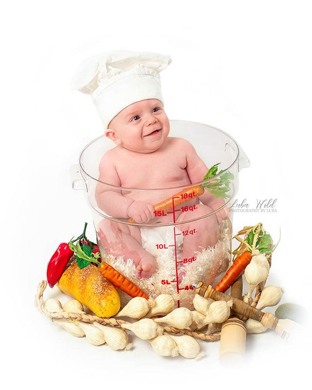 3 months old baby chef in a measuring cap by Spokane photographer luba wold