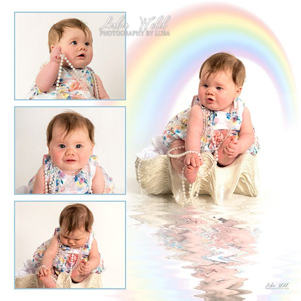 rainbow baby girl portrait art with reflection by Post Falls family photographer luba wold