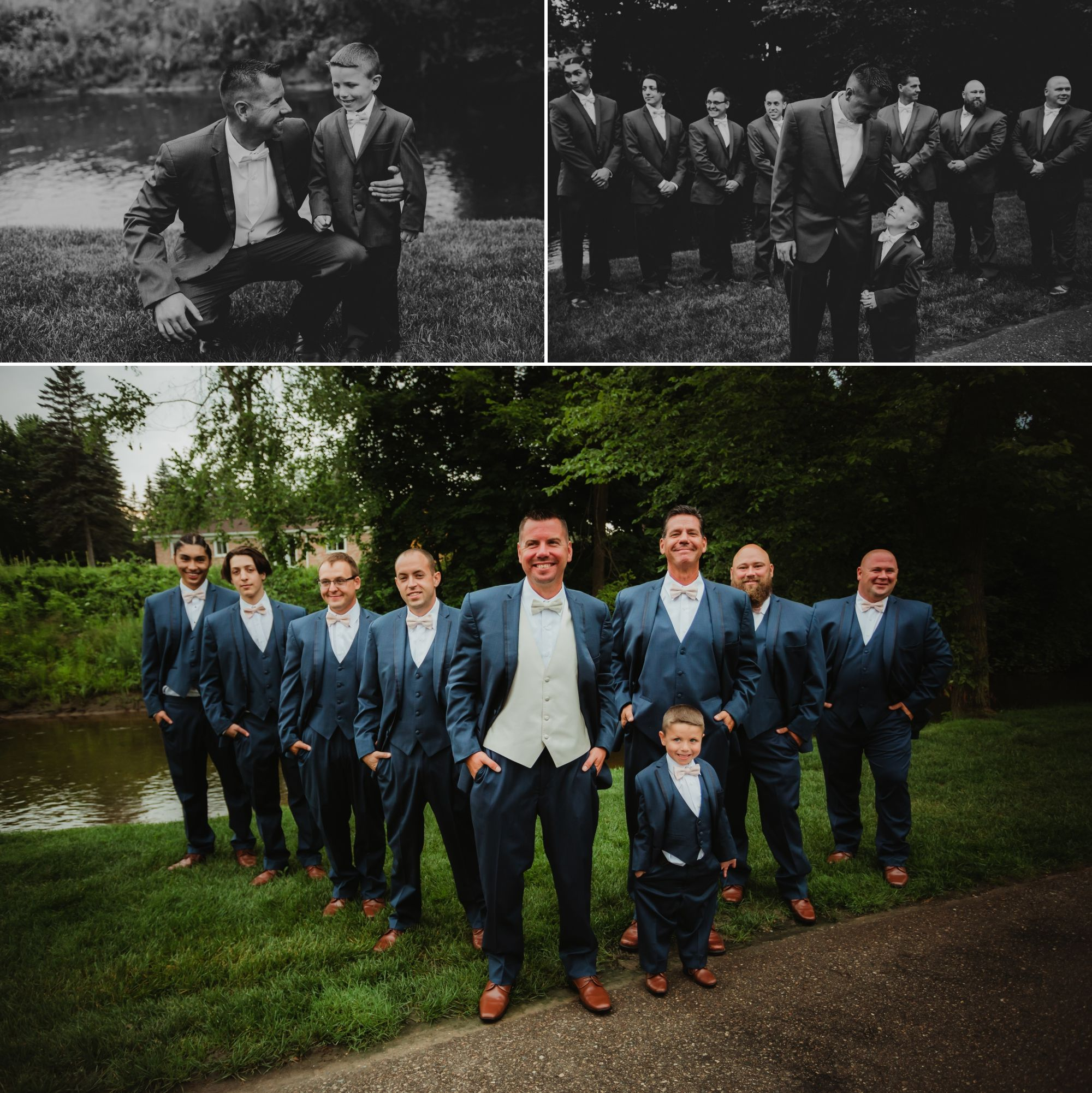 Photos of the groom and groomsmen standing together in front of a river.