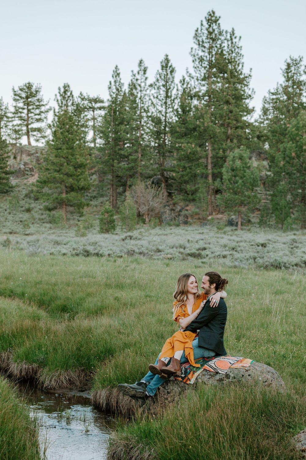 northern california engagement photographer photos meadows redwoods lake boho vintage