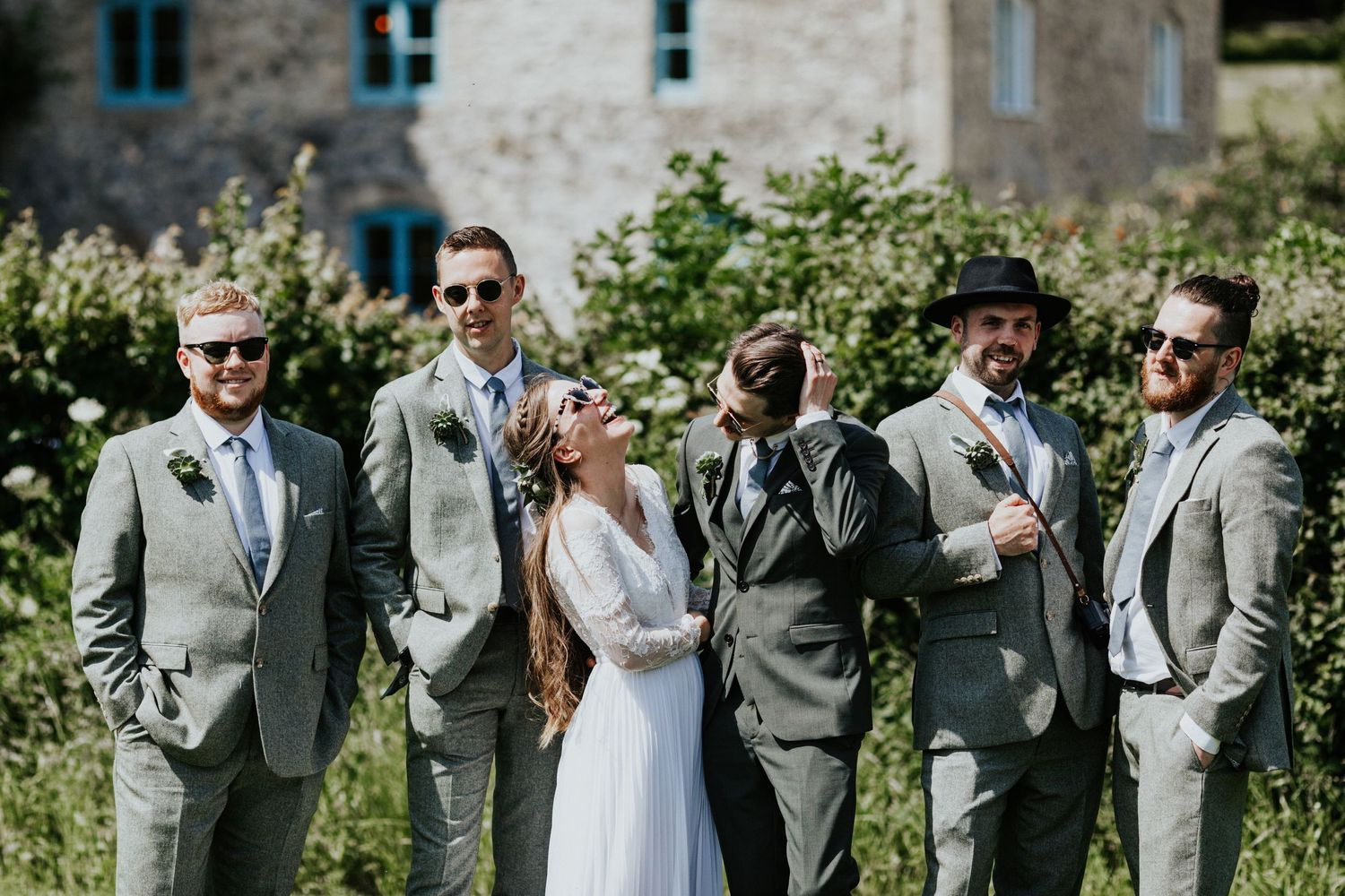 priston mill wedding groomsmen group shots