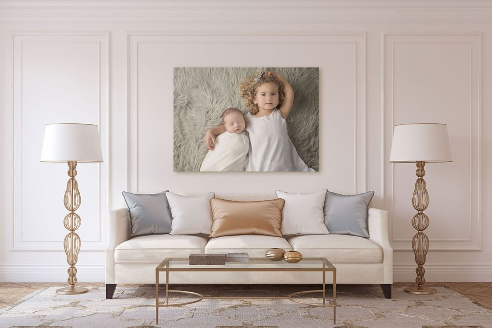 newborn and baby image in living room