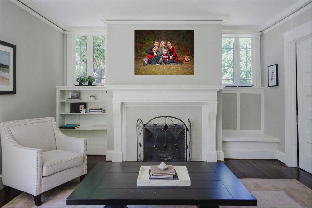 family images over fire place