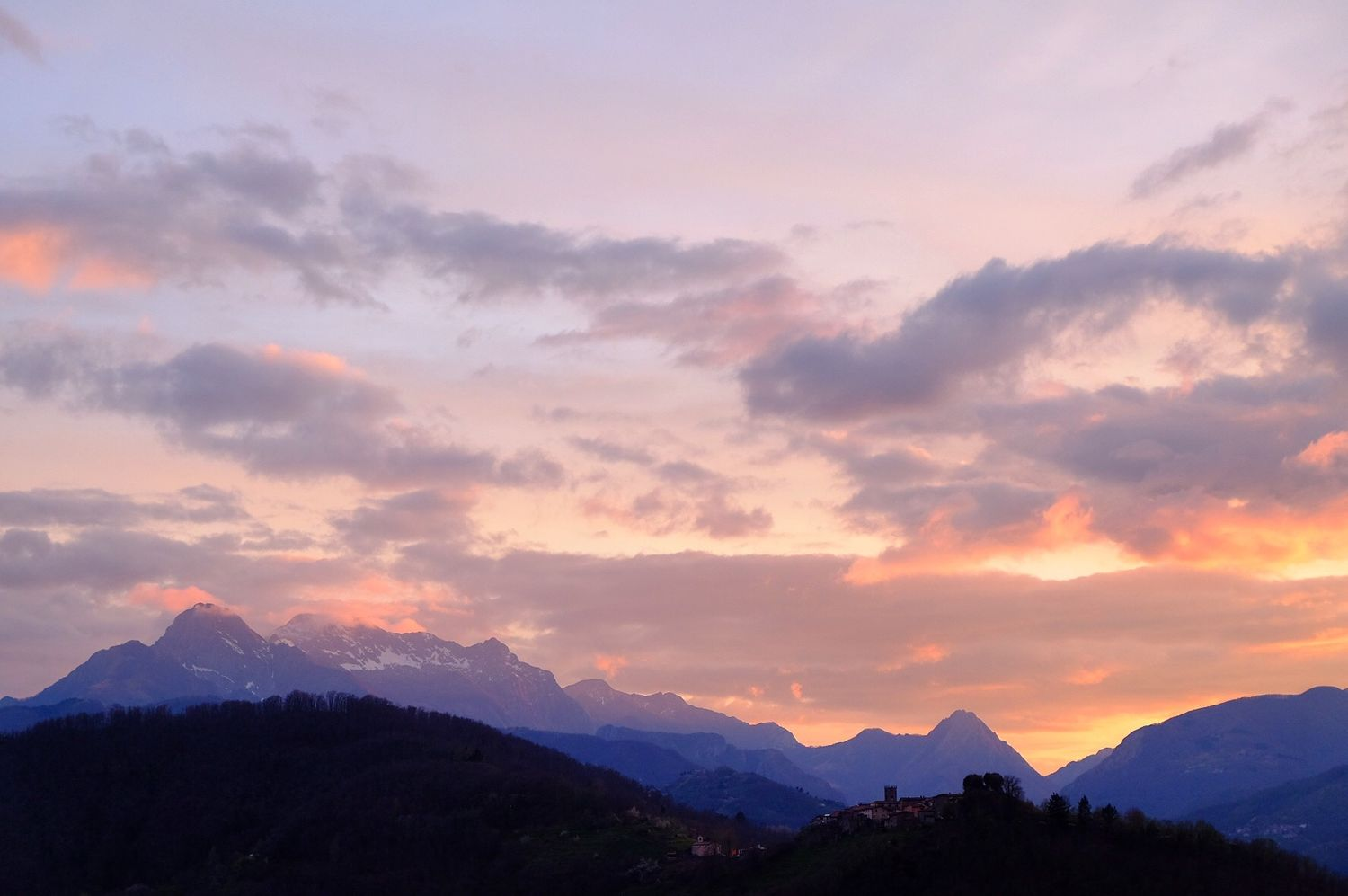 sunset over the Apuan Alps