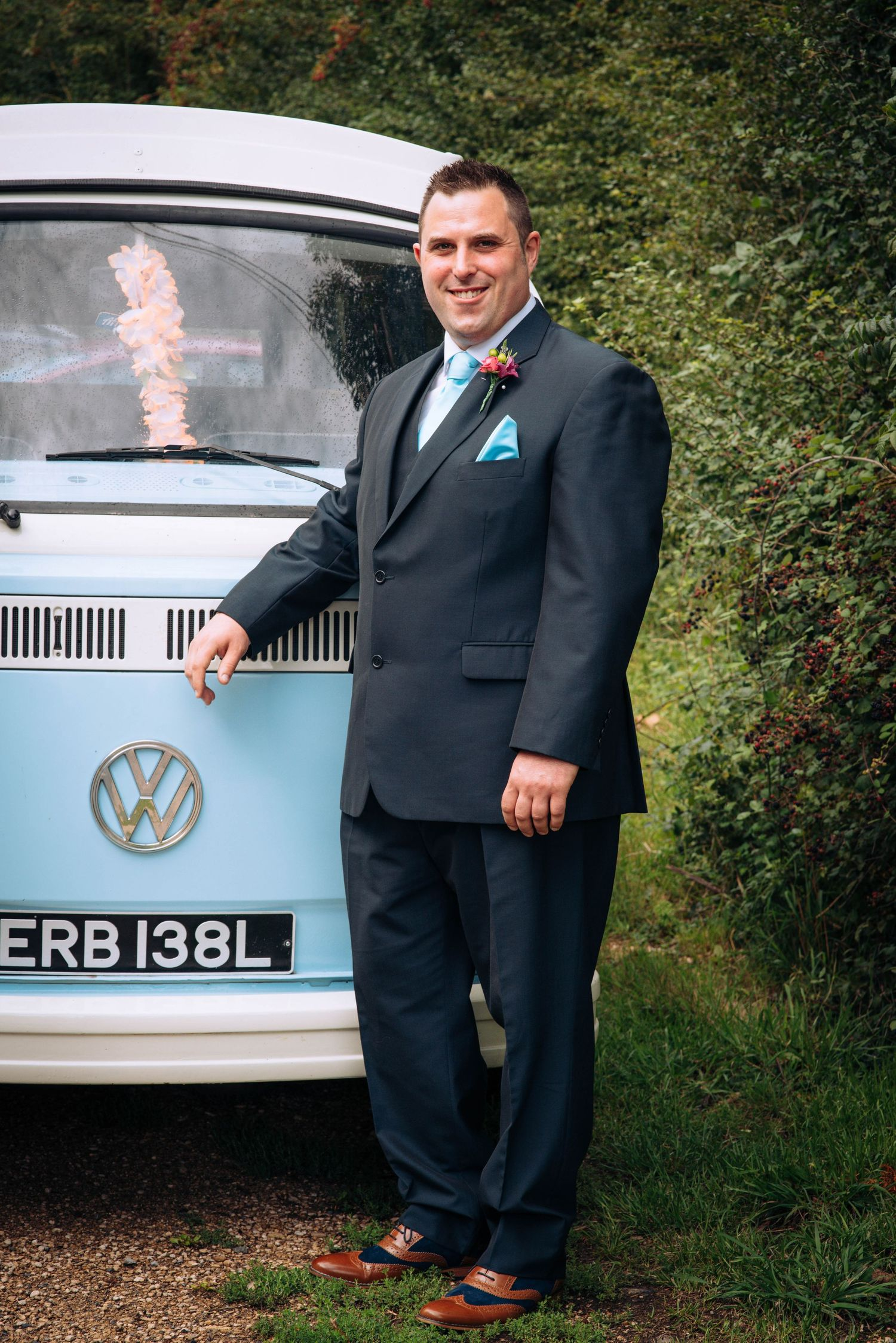 Elmore wedding by Zara Davis Photography, Gloucestershire Groom with the VW van