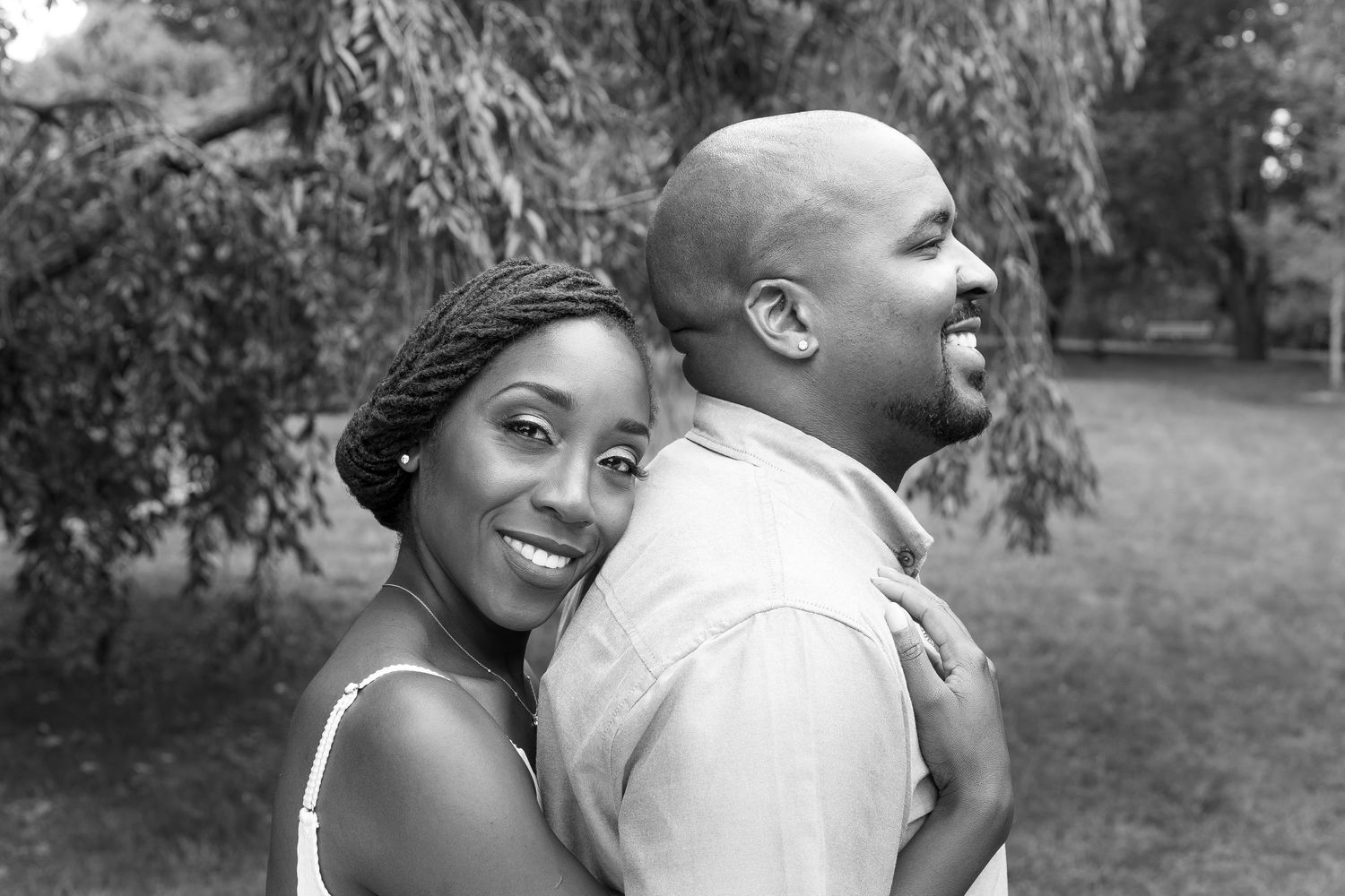 Romantic couple during engagement session at the Harvard Arboretum, Boston