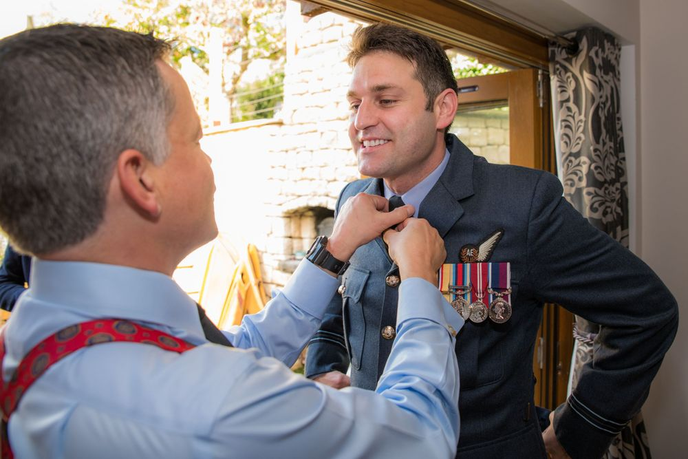 RAF groom getting ready, Long Crendon manor - Robert Nelson Wedding Photography