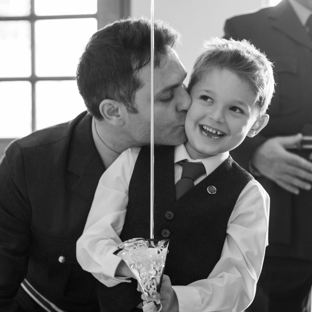 Groom and son before the wedding, Long Crendon manor - Robert Nelson Wedding Photography