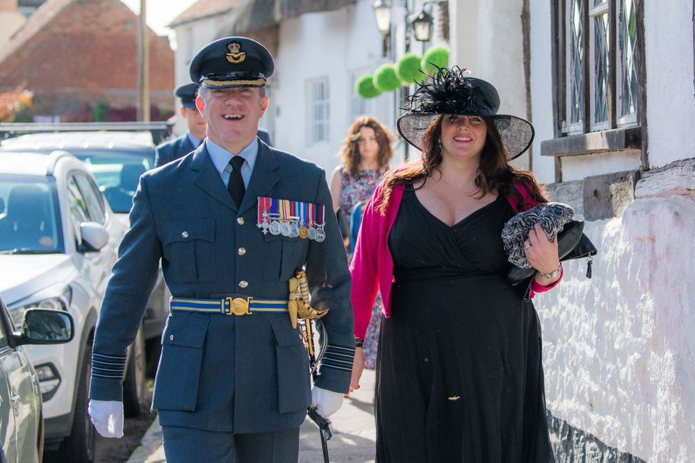 RAF man going to church, Long Crendon manor - Robert Nelson Wedding Photography