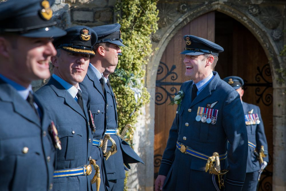 RAF lined up outside church wedding, Long Crendon manor - Robert Nelson Wedding Photography