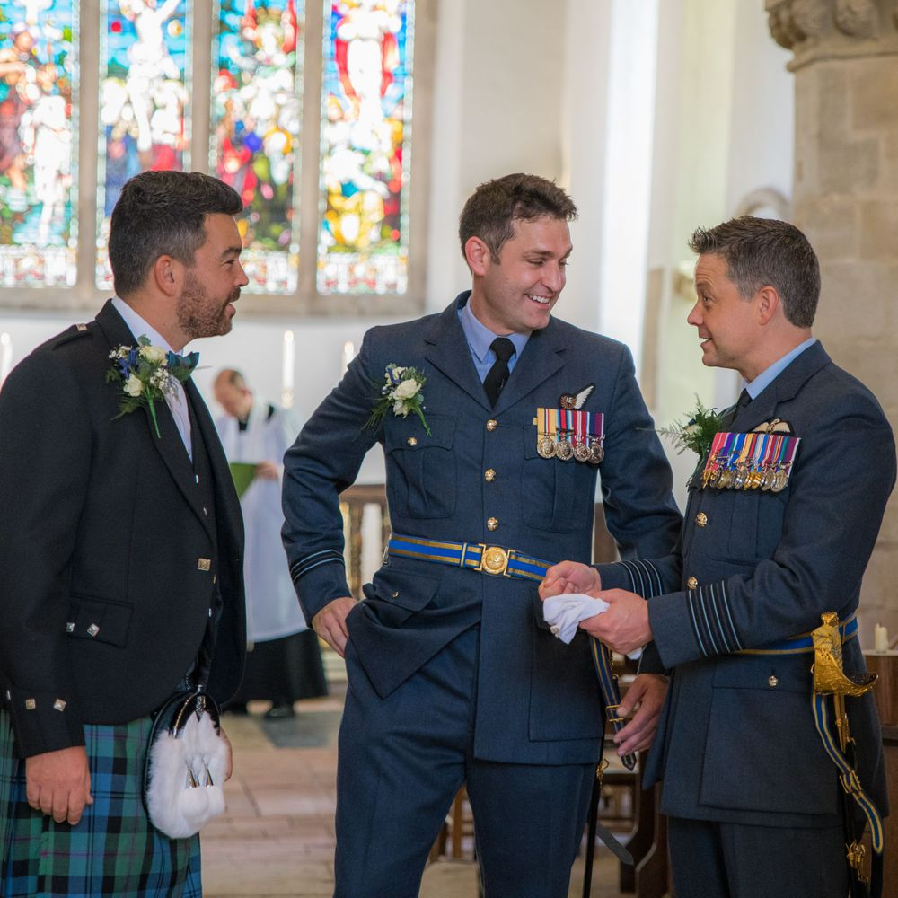 RAF groom and best man at the church wedding, Long Crendon manor - Robert Nelson Wedding Photography