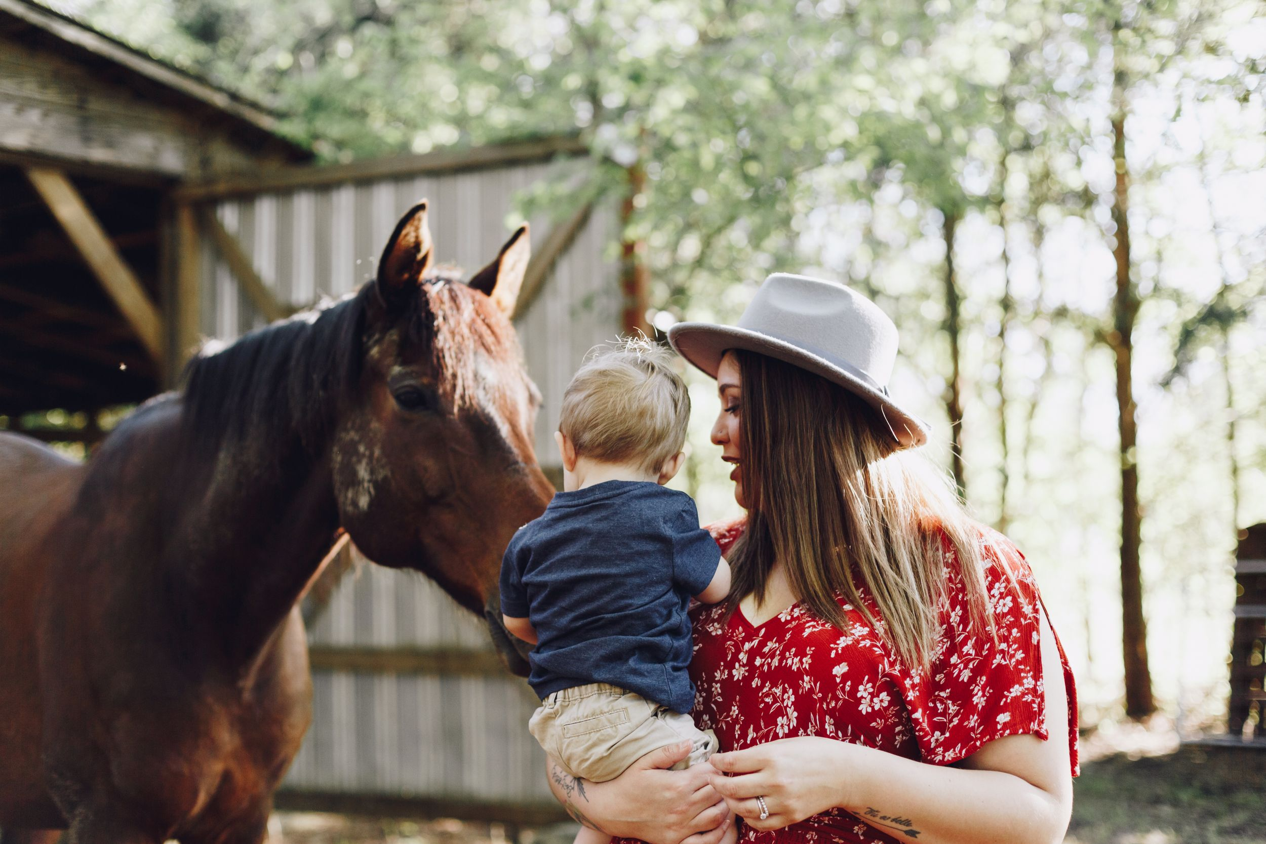 Mother and son pet the nose of a brown horse in a farm in Fayetteville North Carolina