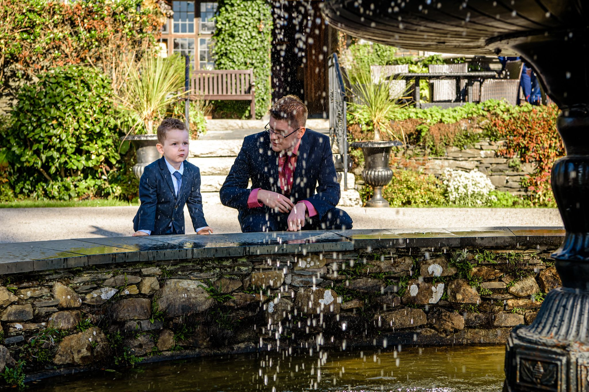 Child by fountain at Broadoaks Country House Hotel