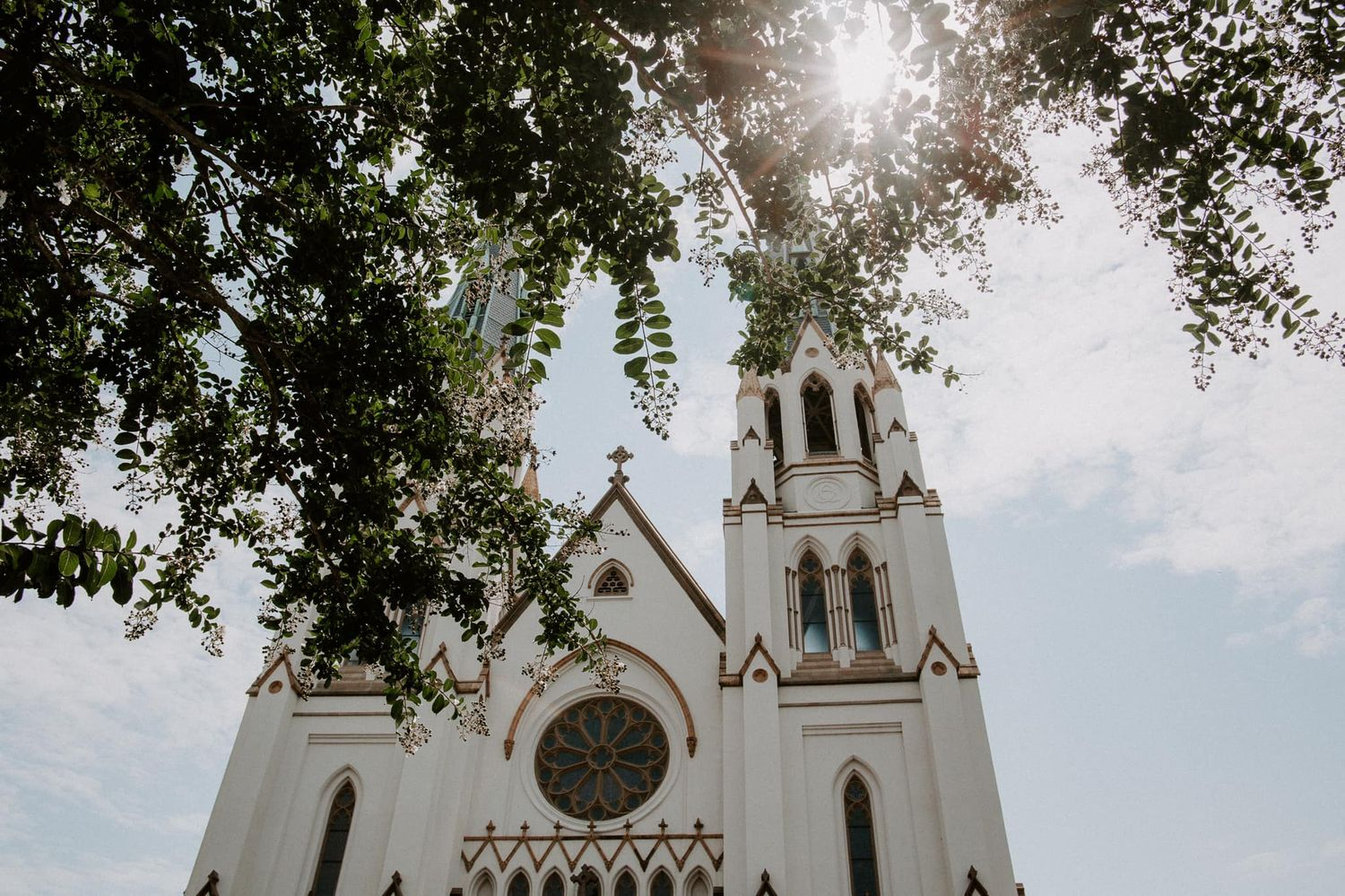view of a Savannah cathedral in Georgia during a summer elopement
