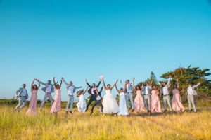 jumping bride groom bridesmaid groomsmen Nicolas Fanny - Mauritius Wedding Photographer - Destination Wedding