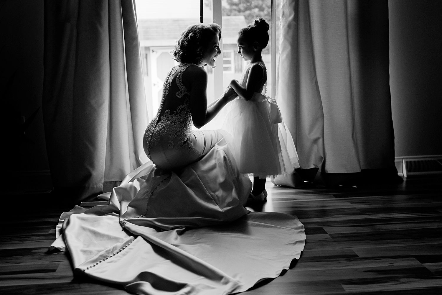 bride and her daughter candid photo