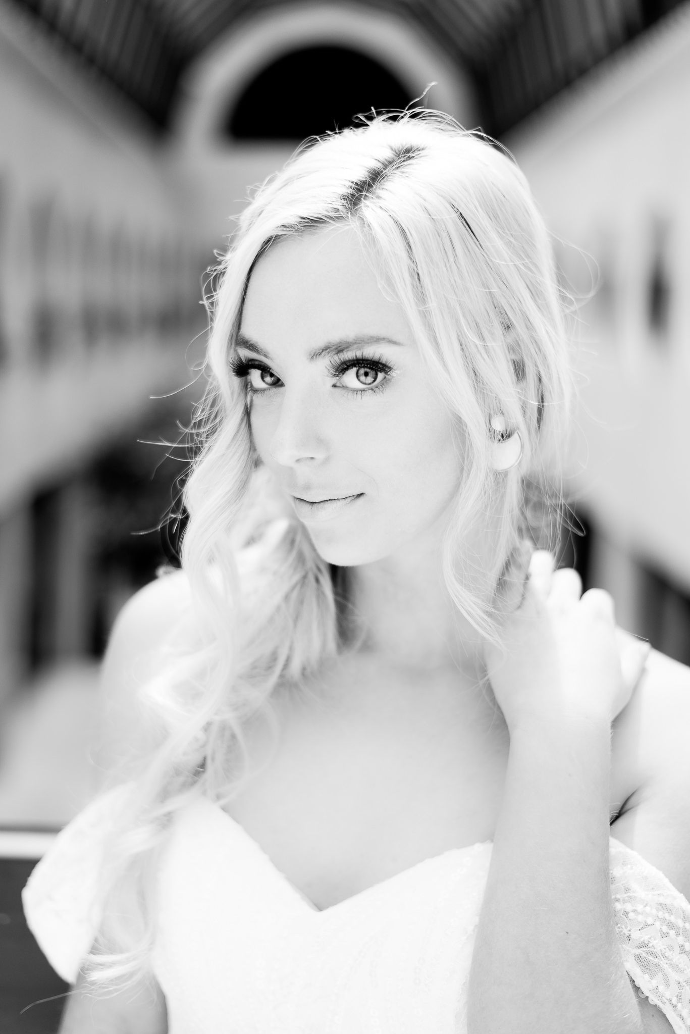 black and white photo of a blonde bride staring into camera at The Center Cincinnati spring wedding