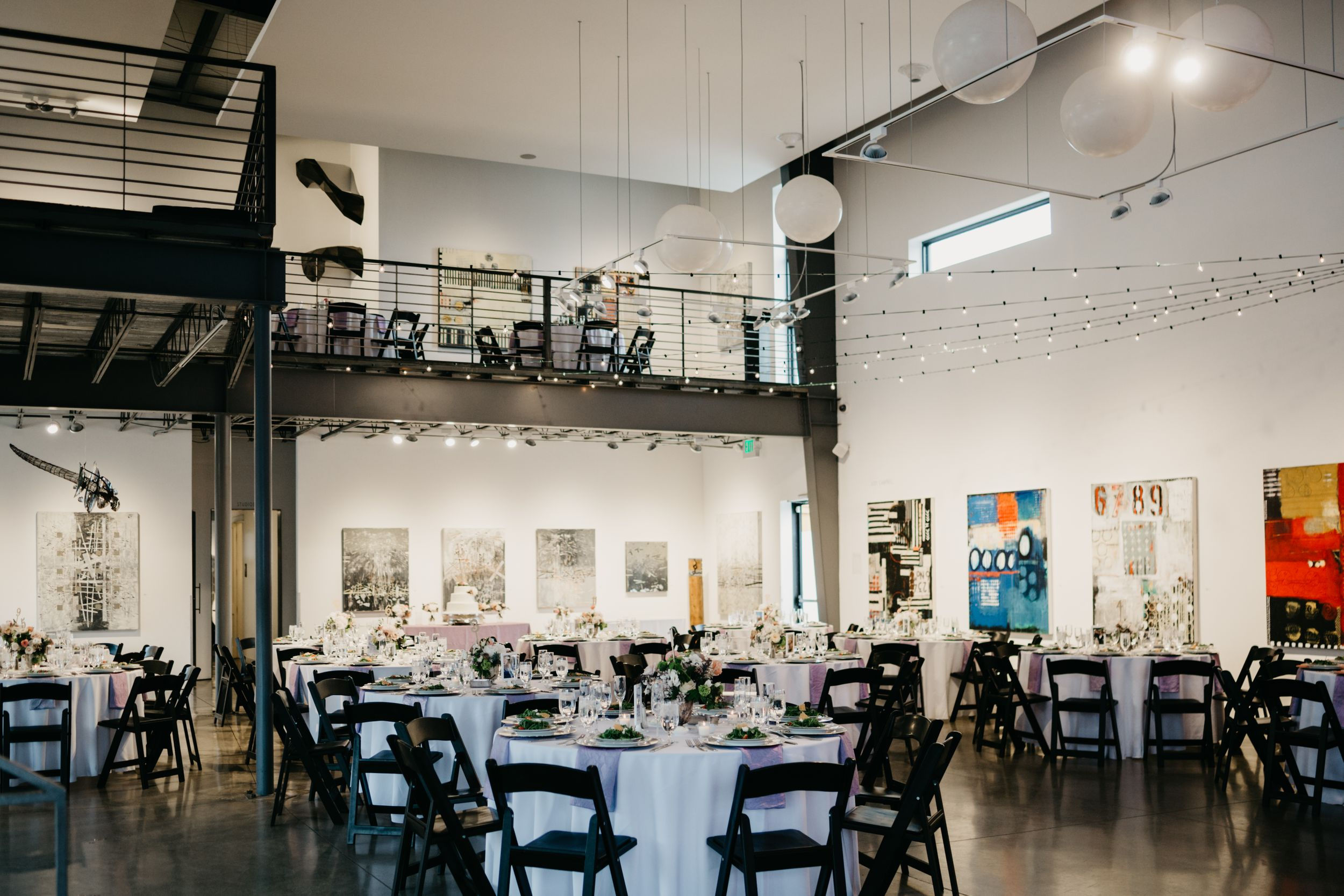 Wedding reception details at Space Gallery in Denver, CO