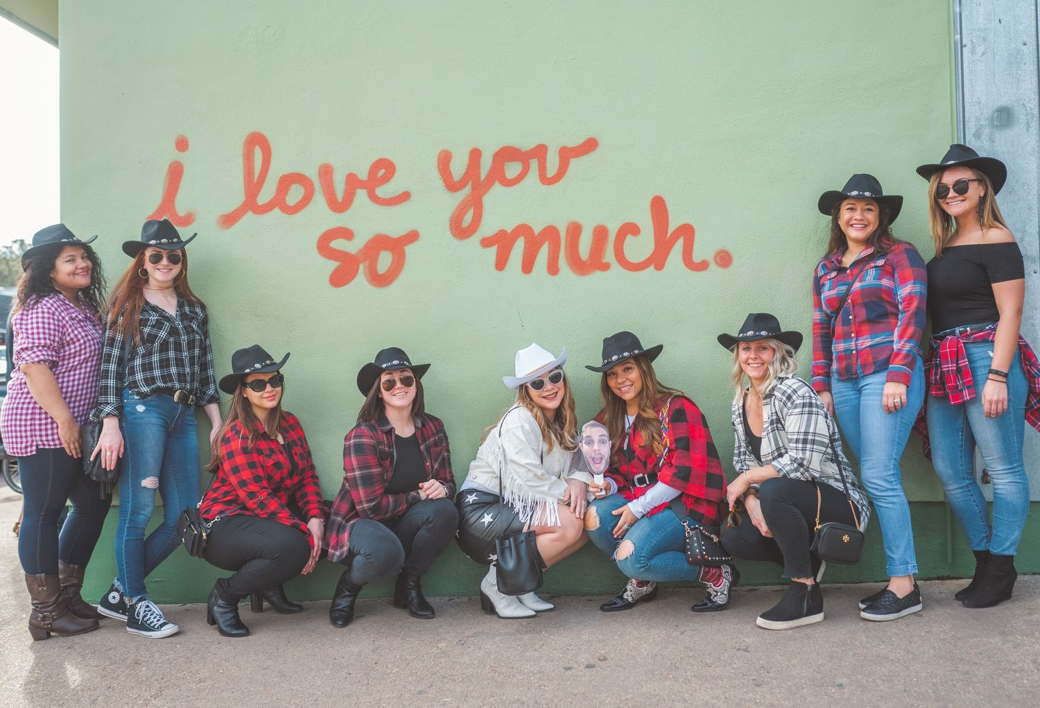First bachelorette party at the I LOVE YOU SO MUCH Mural in Austin, Texas