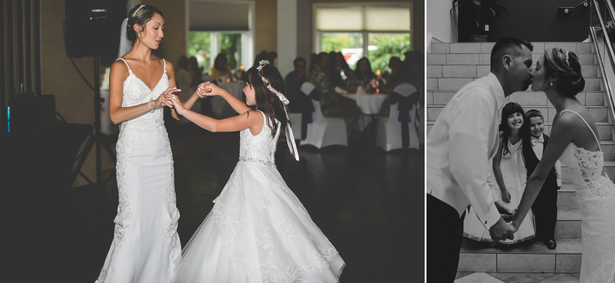 Photo of the bride and her step daughter dancing then the bride and groom kissing with their kids in the background.