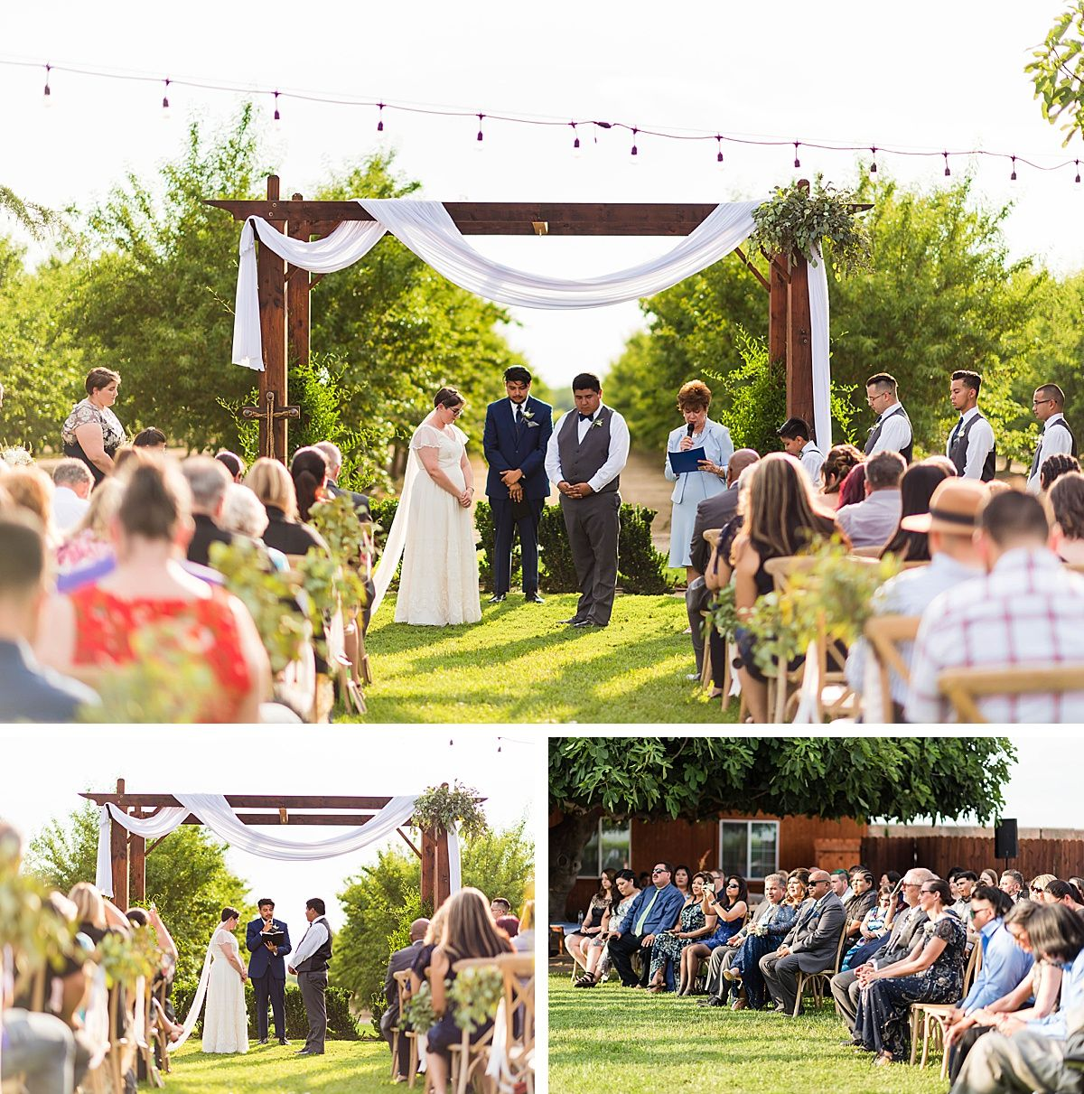 Central Valley California vineyard wine country destination wedding ceremony