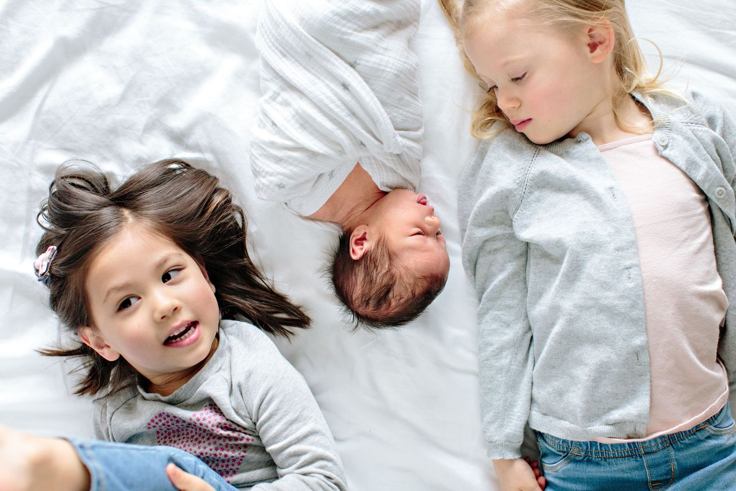 kids on bed