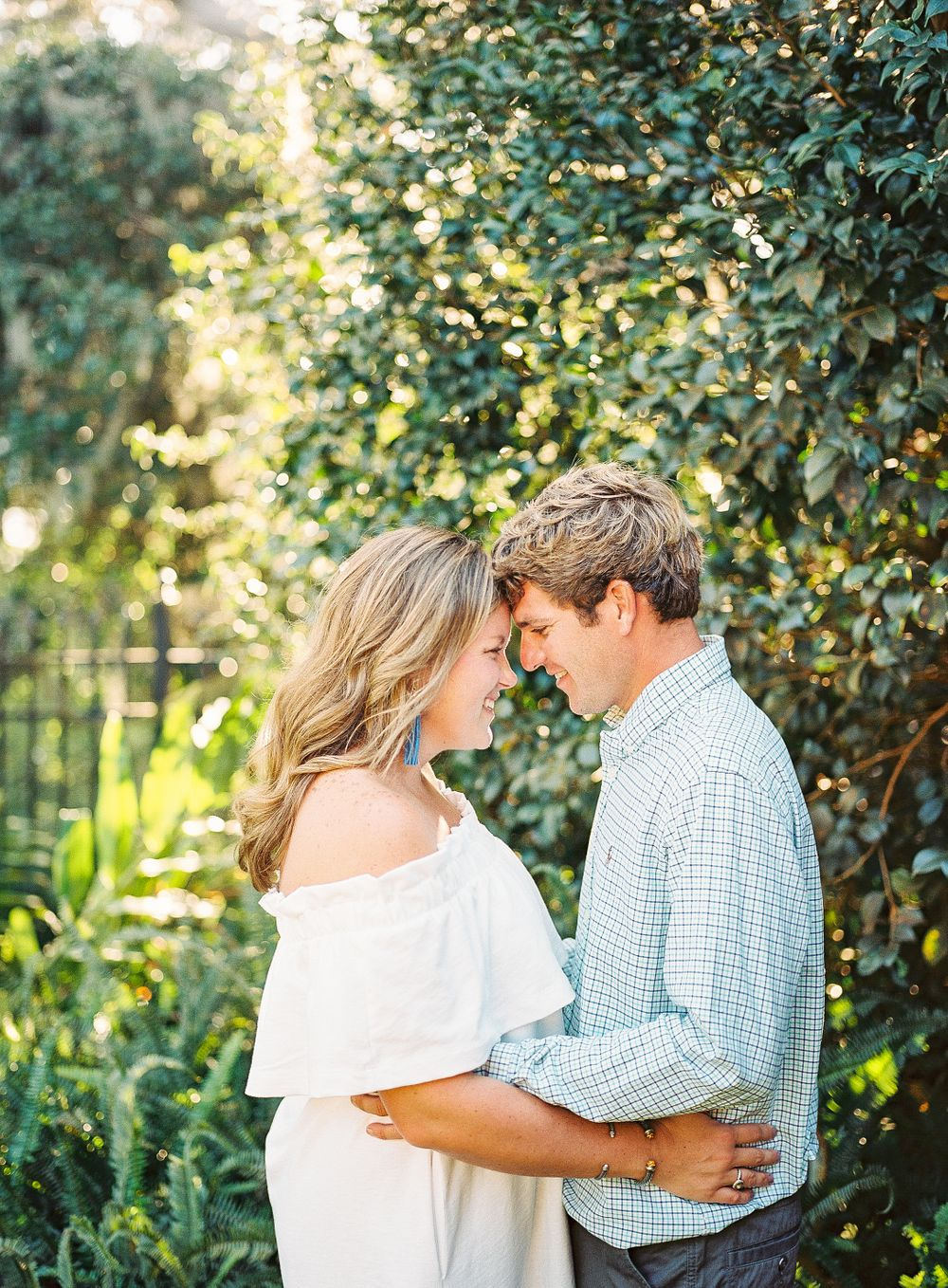 couple gets real close for coastal engagement session in savannah, ga