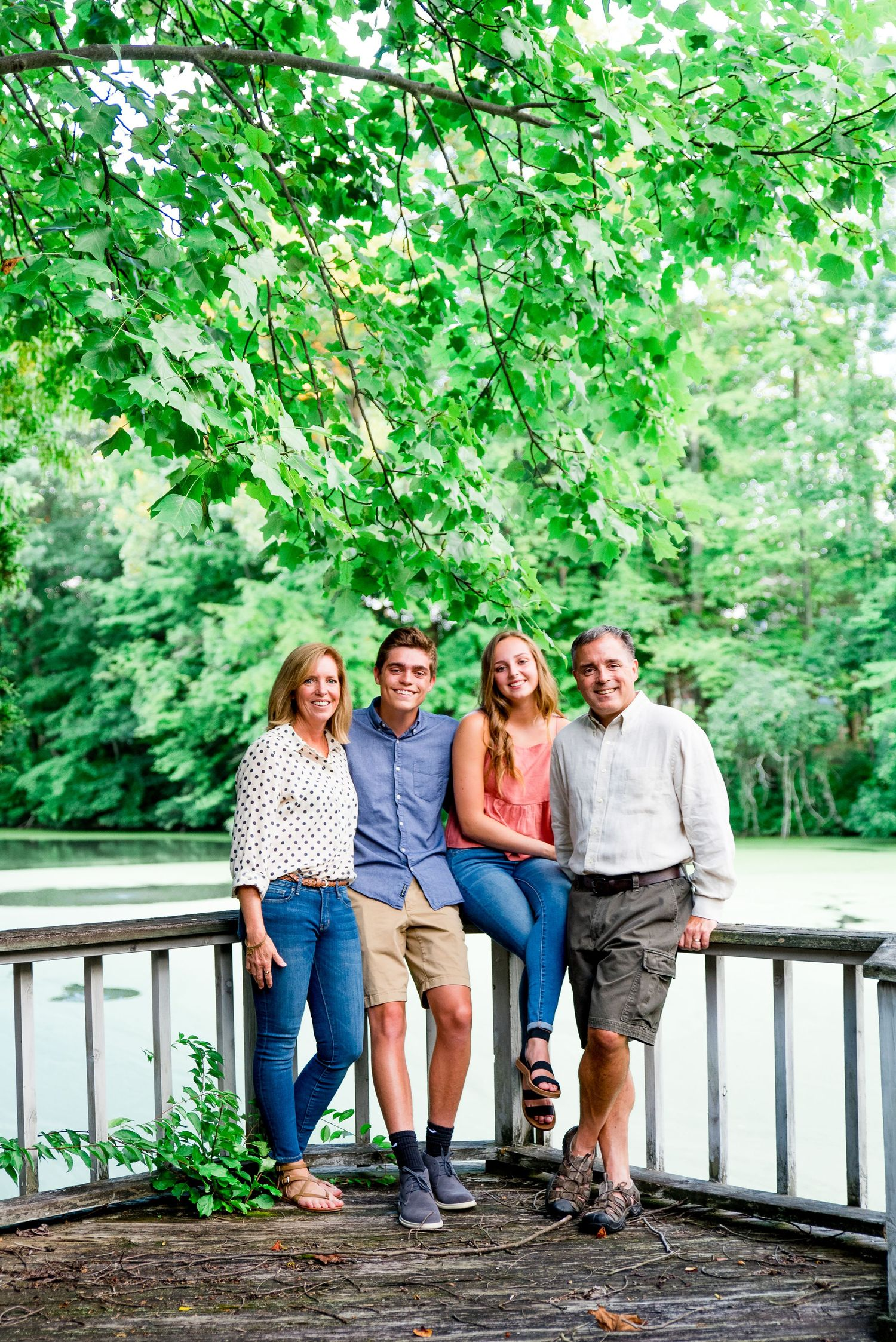 family, smiling, balcony, pond, summer, Cincinnati OH