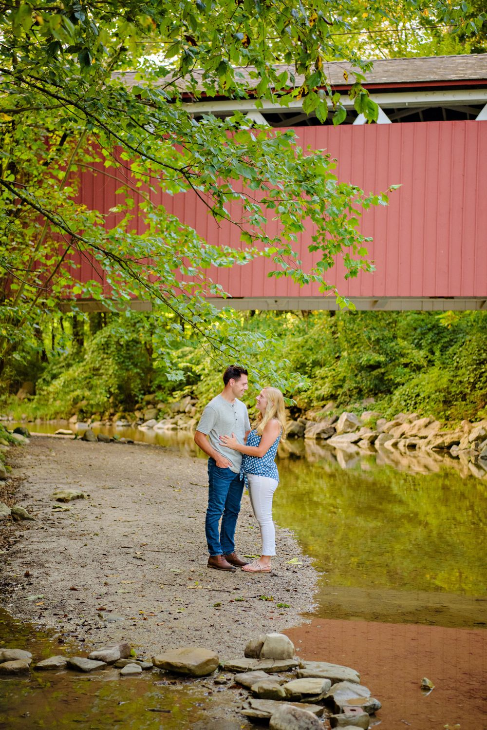 Summer engagement session at Everett Road Covered Bridge