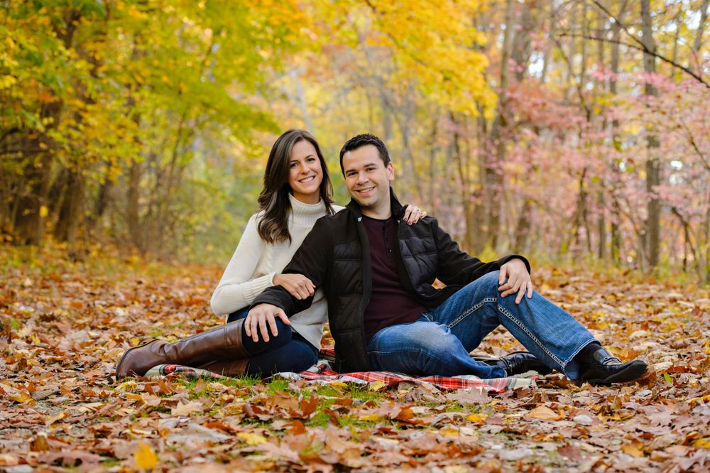 Autumn engagement session in Canton at Monument Park