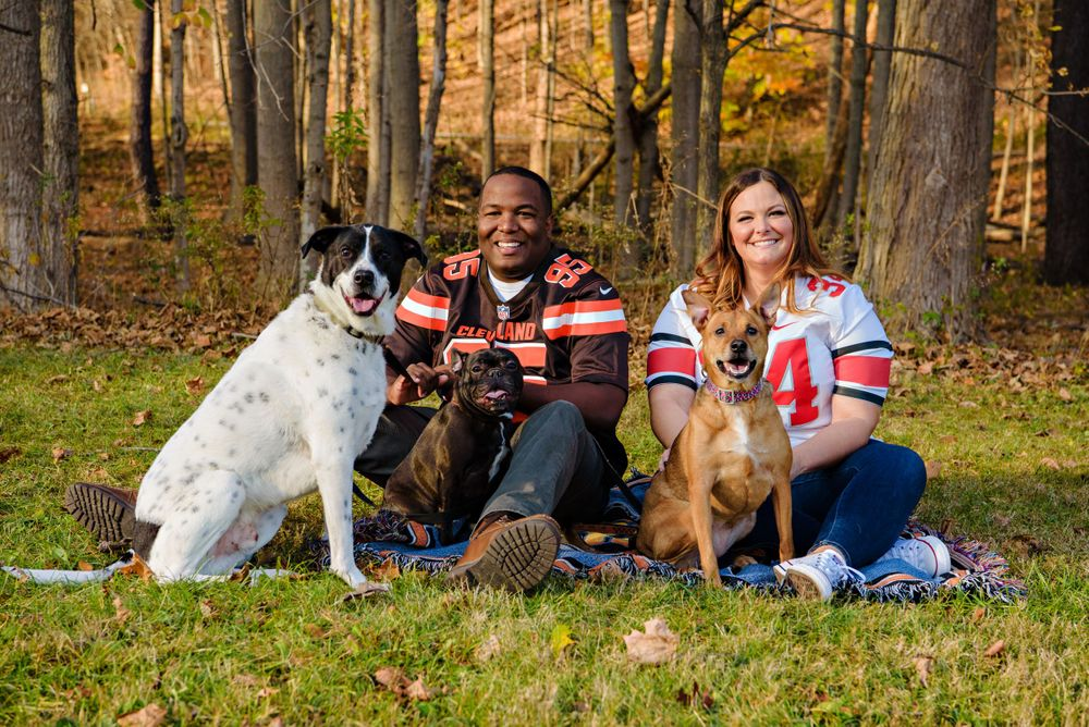 Cleveland Browns themed engagement session with dogs in Ohio