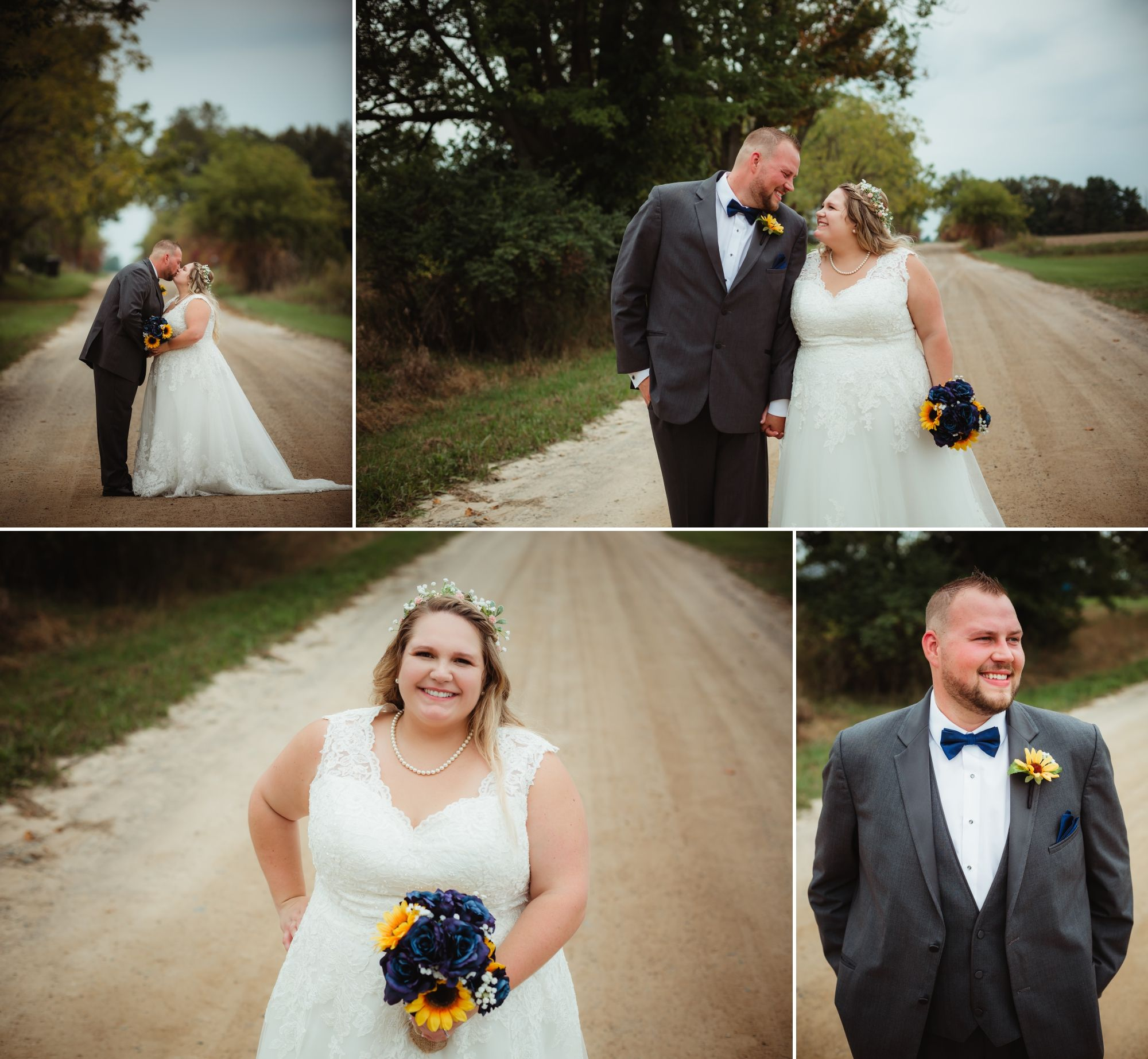 Collage of the bride and groom standing on a dirt road smiling.