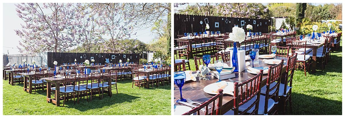 Central Valley California orchard wedding reception tables