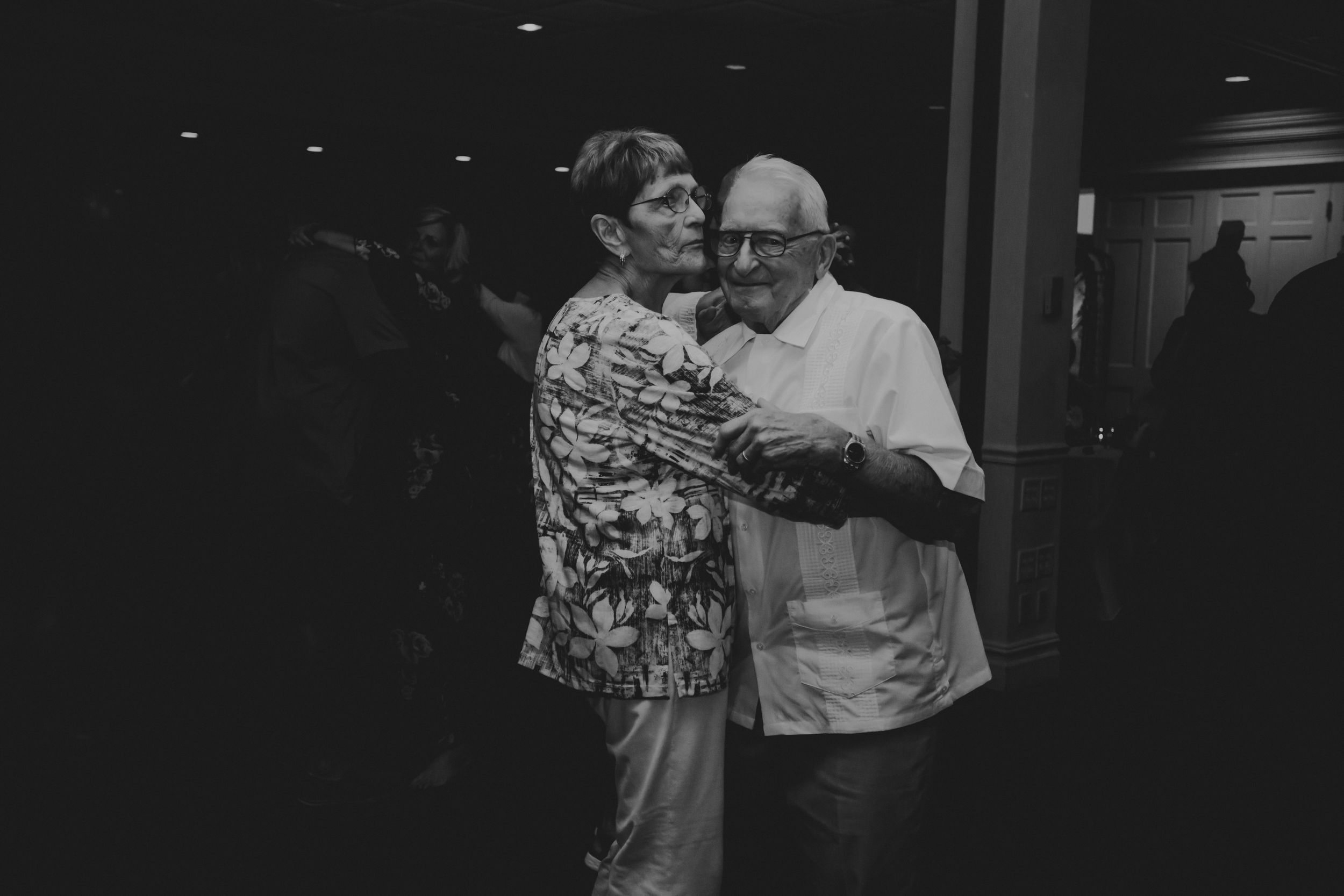 Photo of the couples' grandparents dancing together during the reception.