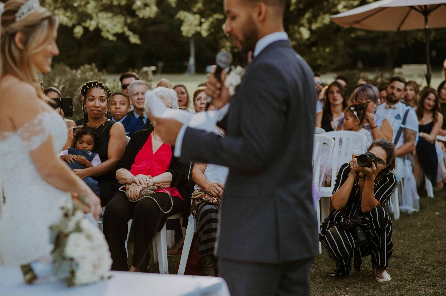 Raphaelle Granger in action during a summer intimate wedding ceremony