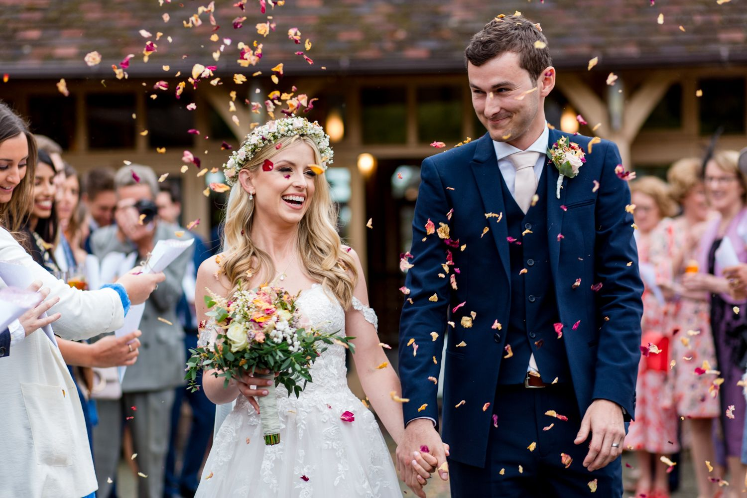 rose petal confetti, Rivervale Barn Hampshire