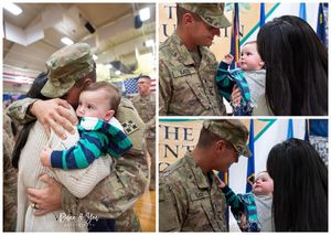 Daddy holds his son first time since coming home from deployment