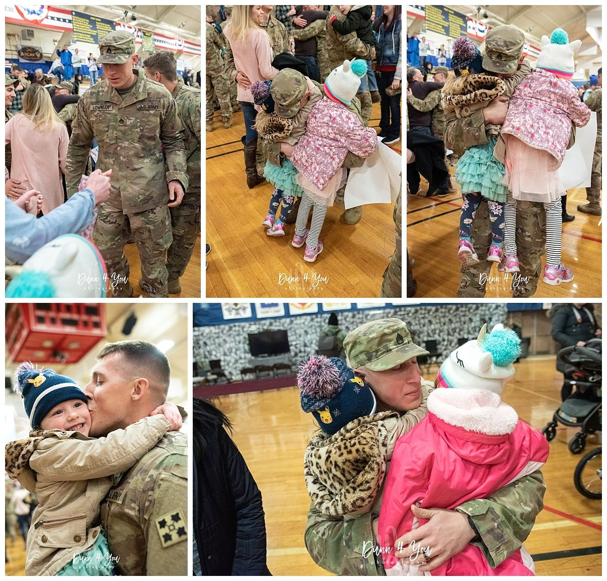 Soldier embraces his children after returning home from deployment