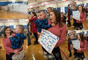 mommy and son waiting on their soldier at welcome home ceremony