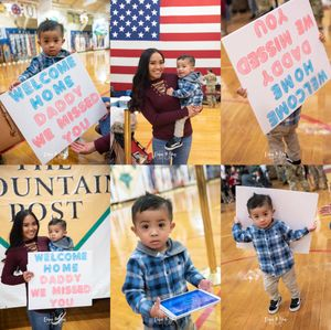 Welcome Home ceremony.Mommy and little boy waiting with his sign.
