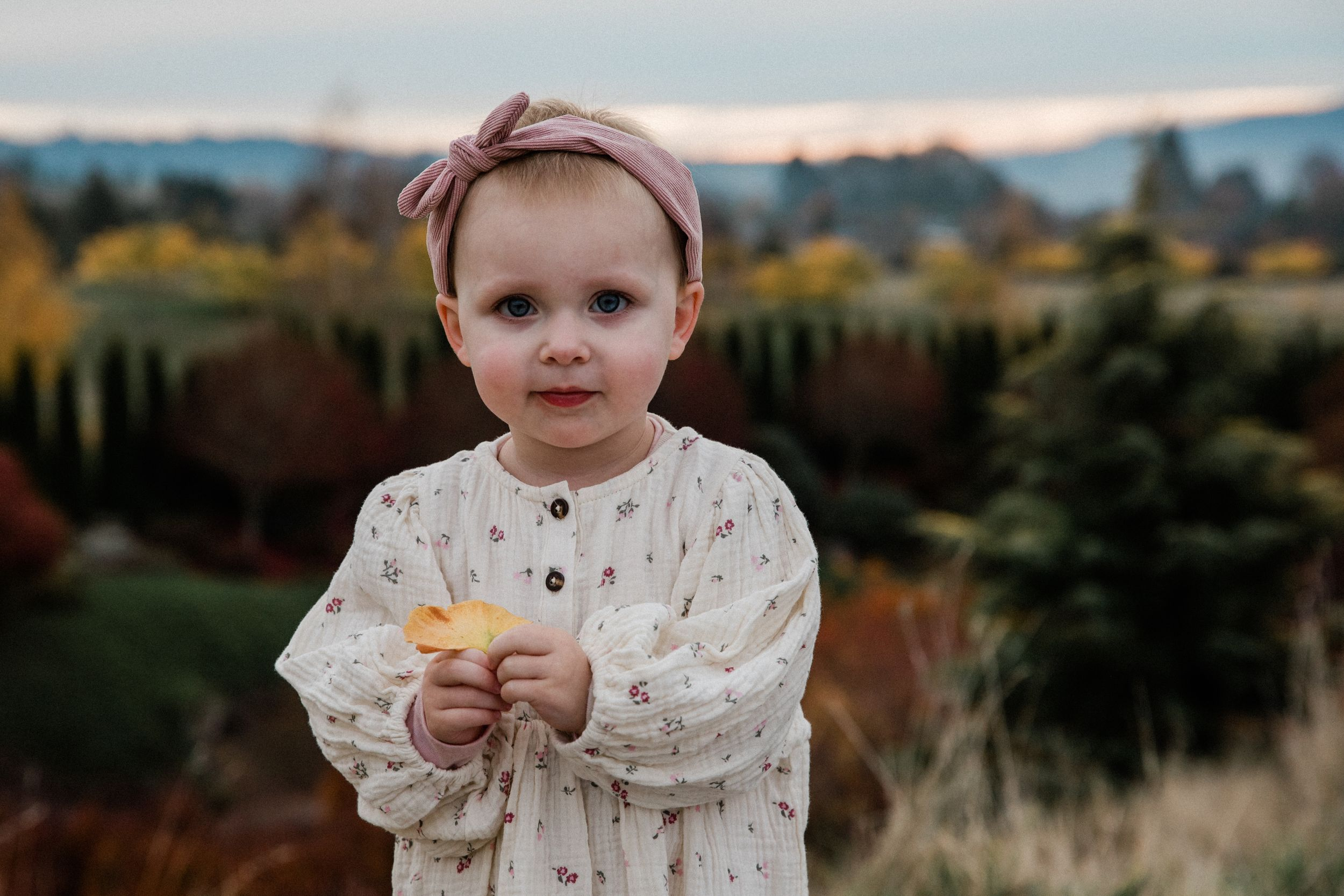 portrait of a toddler holding a leaf